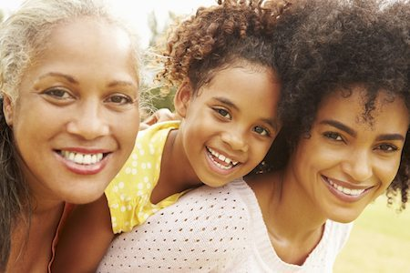 Three generations of dental patients with great teeth because using family dentistry services means its possible to restore their bite without more invasive forms of therapy.